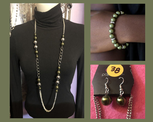 Paparazzi Green $10 Set - Uptown Talker Necklace and Exquisitely Elite Bracelet