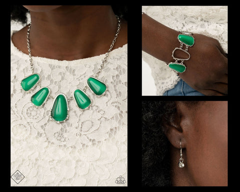 Paparazzi Green $10 Set - Newport Princess Necklace and Yacht Club Couture Bracelet