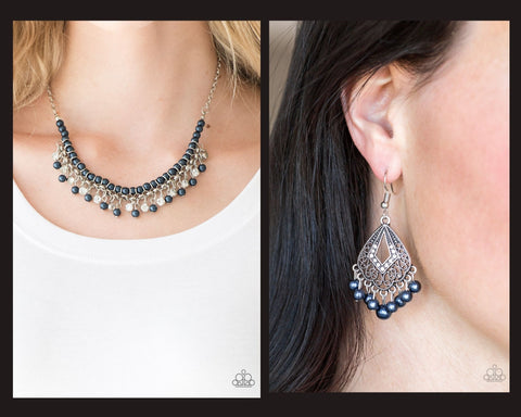Paparazzi Blue $10 Set - A Touch of CLASSY Necklace and Gracefully Gatsby Earrings