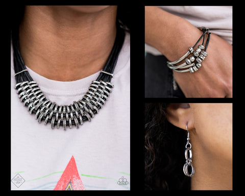 COMING SOON - Paparazzi Black $10 Set - Lock Stock and Sparkle Necklace and We Aim to Please Bracelet