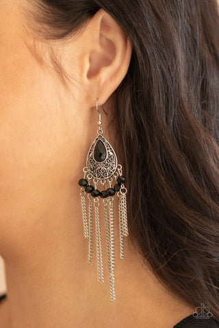 Paparazzi Floating on HEIR Black Earrings