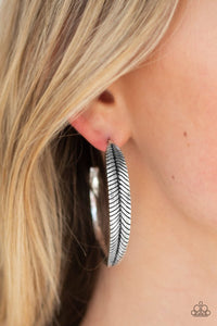 Paparazzi Funky Feathers Silver Earrings