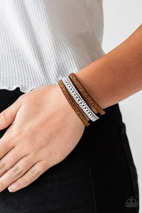 Paparazzi Rollin In Rhinestones Brown Urban Bracelet