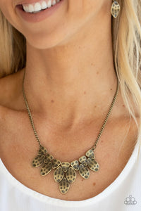 Paparazzi Rustic Smolder Brass Necklace