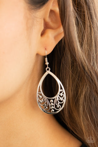 Paparazzi Stylish Serpentine Silver Earrings