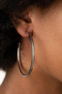 Paparazzi Sultry Shimmer Black Hoop Earrings