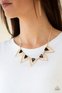 Paparazzi The Pack Leader Gold and Black Necklace