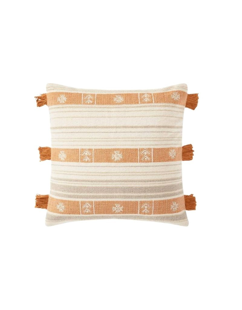 Natural / Orange Pillow Cover P0935 22x22