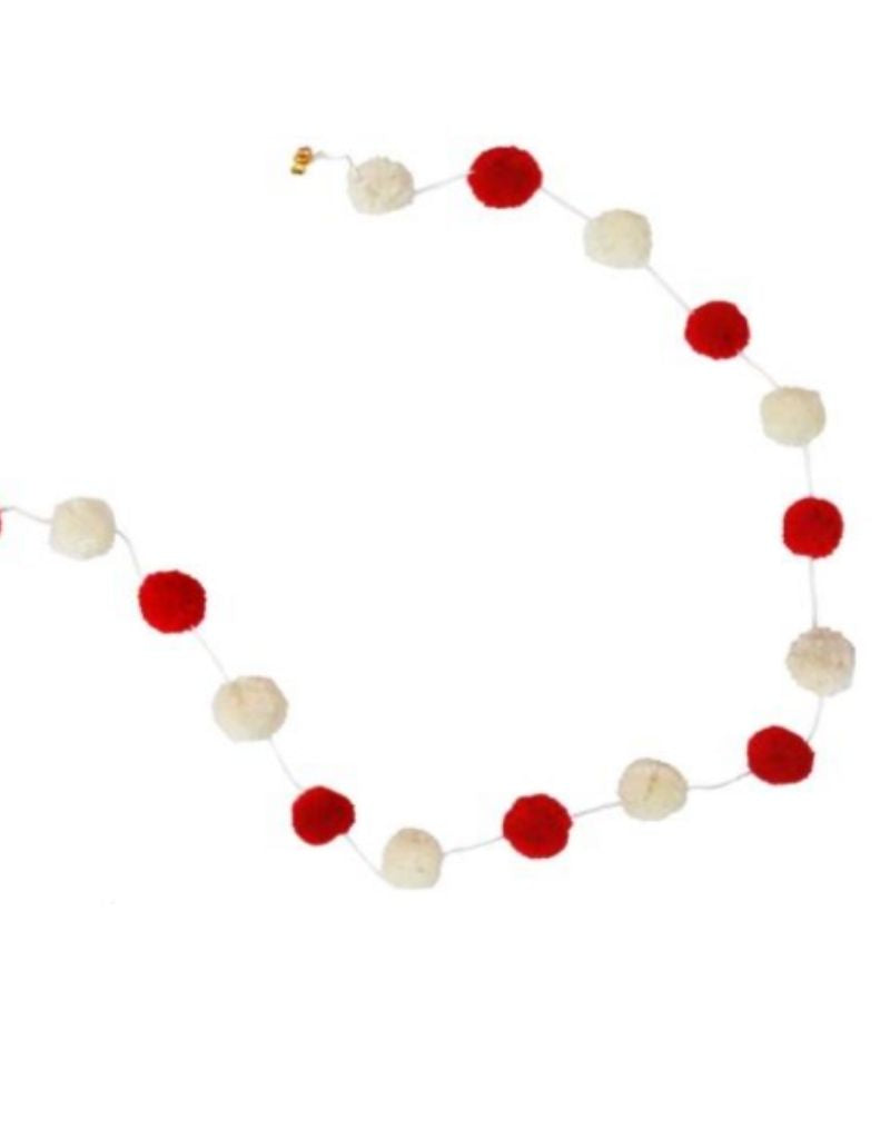 Wool Garland - Red + Cream