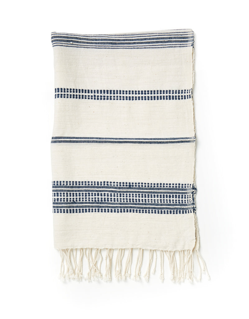 Aden Natural with Navy Hand Towel