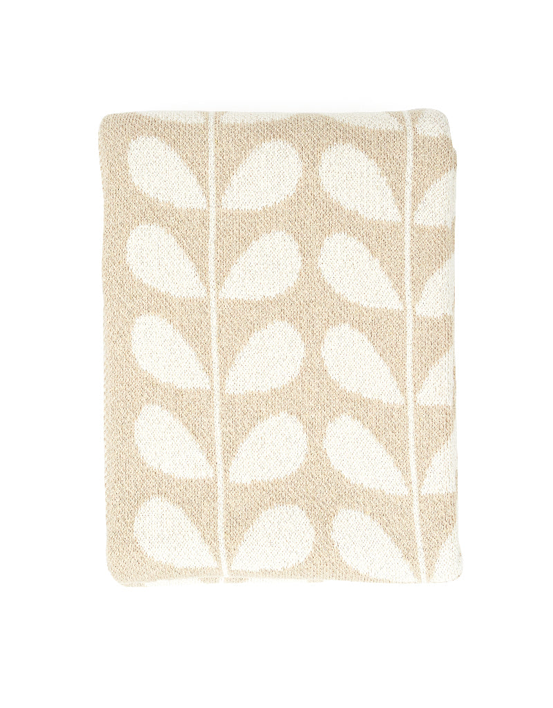 Ivory + Linen Mod Leaf Recycled Cotton Throw