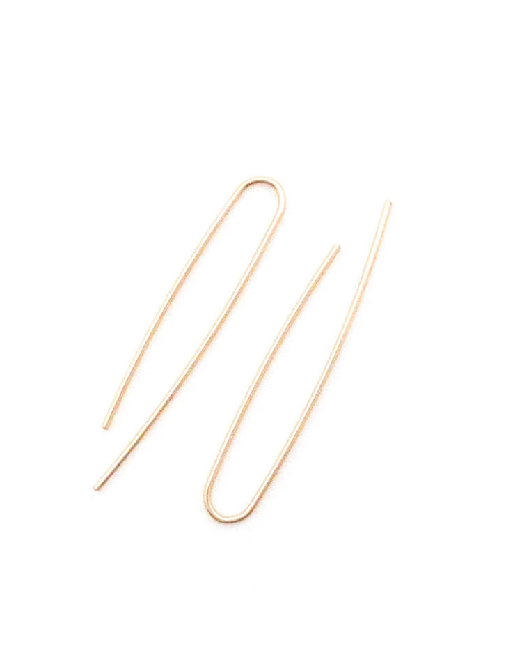 Uneven U Earrings, Gold