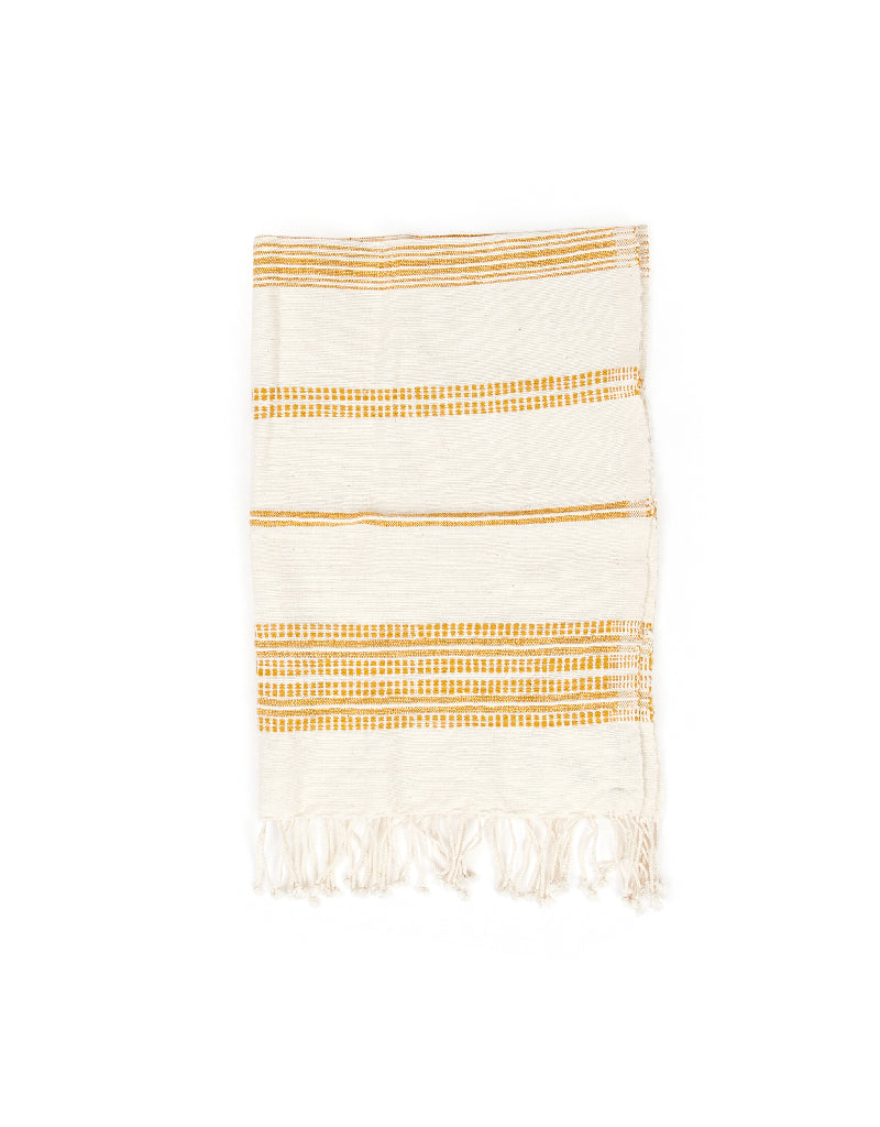 Handwoven Hand Towel Aden Natural with Mustard Stripe