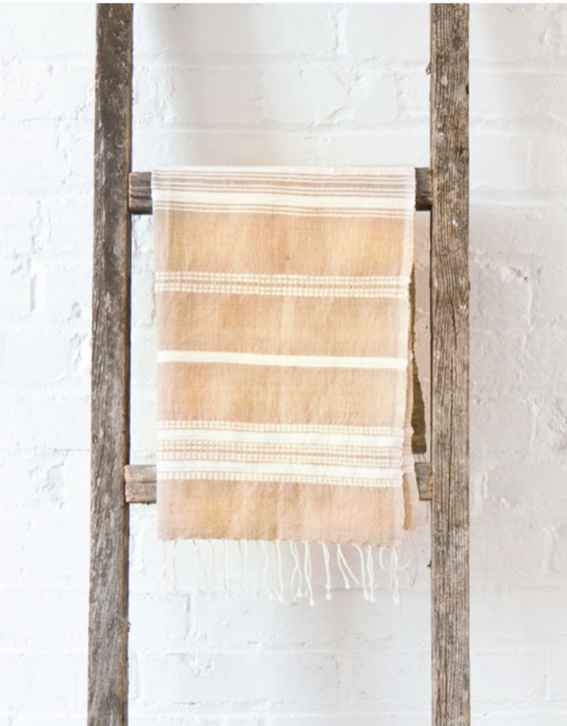 Handwoven Hand Towels Aden Beige w/ Natural Stripes