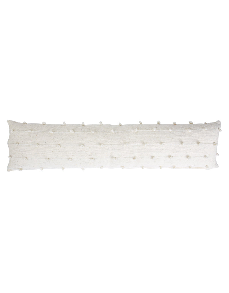 Cream Loops Wool Long Lumbar Pillow