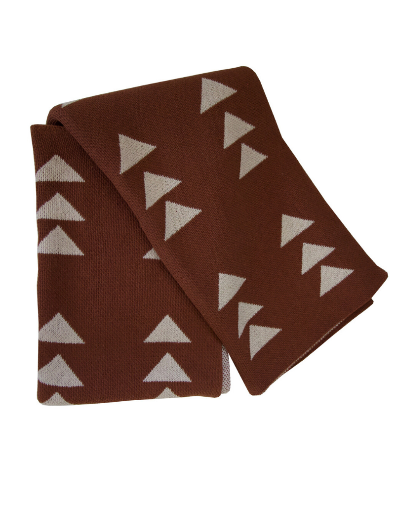 Cinnamon with Linen Triple Triangle Recycled Cotton Throw