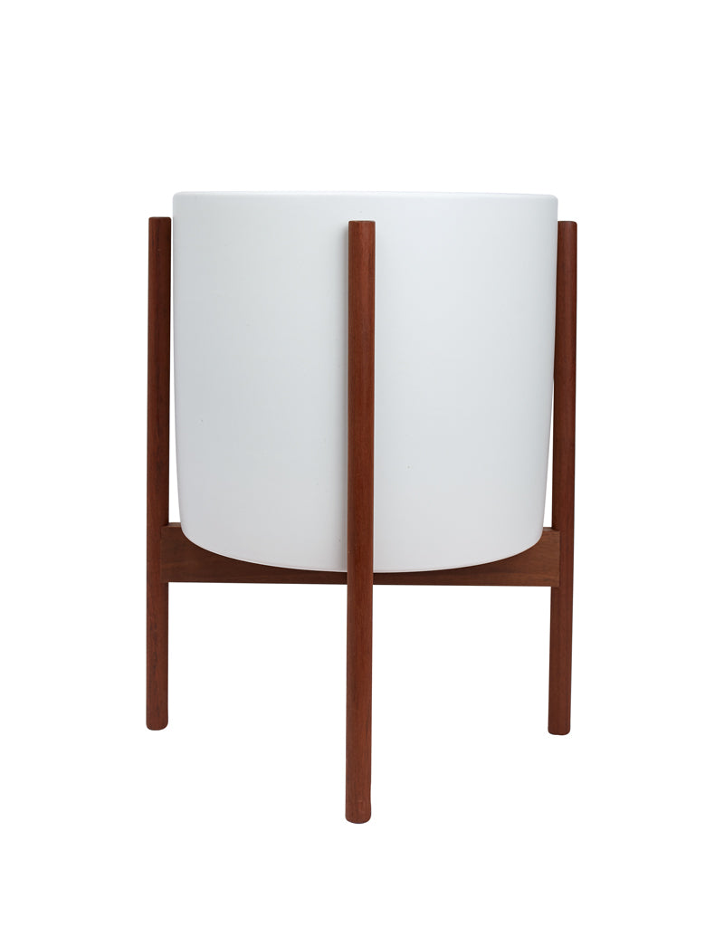 White Large Planter + Walnut Stand