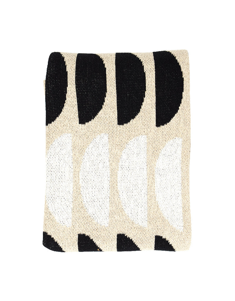 Black + Linen Moons Recycled Cotton Throw