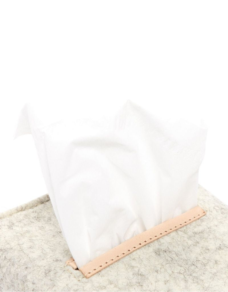 Small Tissue Box Cover, Heather White
