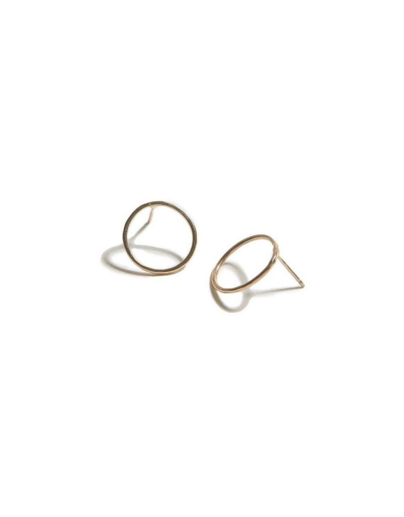 Hammered Circle Earrings - 14k Gold Fill