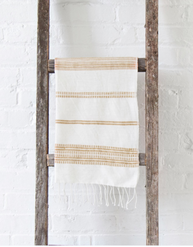 Handwoven Hand Towels Aden Natural w/ Rattan Stripes
