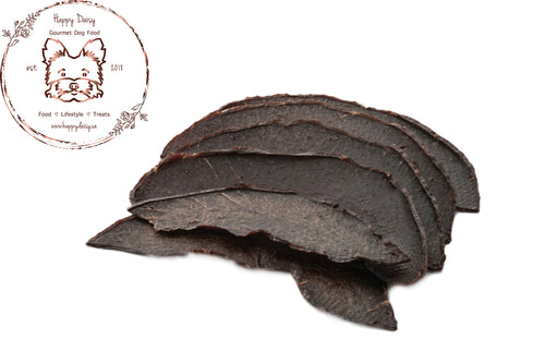 Beef Heart Jerky 100 g / 3.5 oz - Happy Daisy Gourmet Dog Food