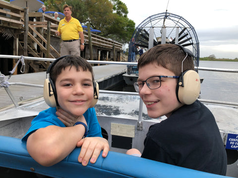 Parker and Spencer are ready for the airboat ride in Florida