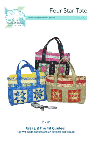Four Star Tote- a tote bag pattern using Fat Quarters