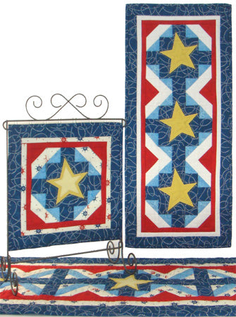 Harbor Lights- a pieced banner with star appliqué in red, white and blue fabrics