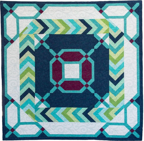 Criss Cross quilt with braid border in Pixie Dots fabric from Ink and Arrow