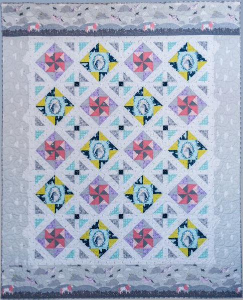 Sweet Spirals twin quilt in Believe fabric by Sandra Clemons