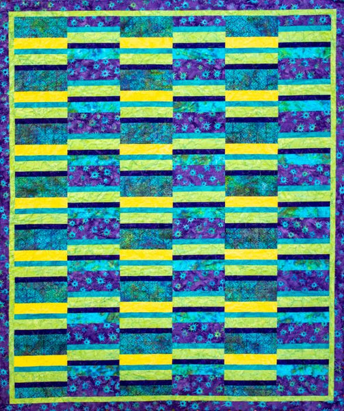 Split Strip- a easy to piece quilt show in blue and green batiks