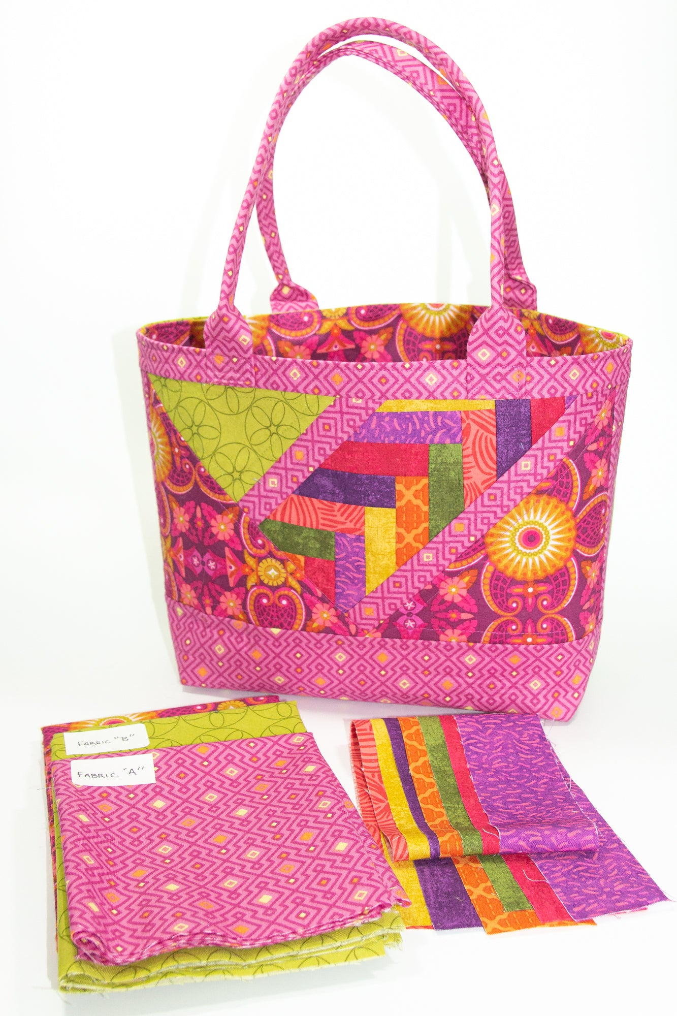 Tote That! fabric kit in Pink & Green (small)