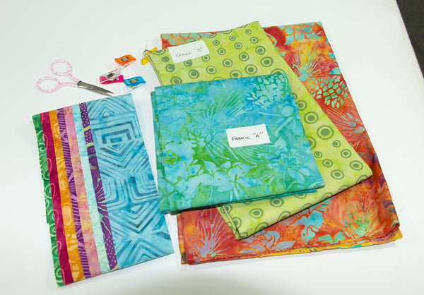 Tote That! fabric kit in Blue/Green & Orange (small)
