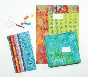 Tote That! fabric kit in Blue/Green & Orange (large)