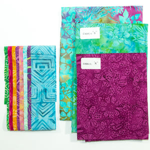 Tote That! fabric kit in Blue/Green & Magenta (small)