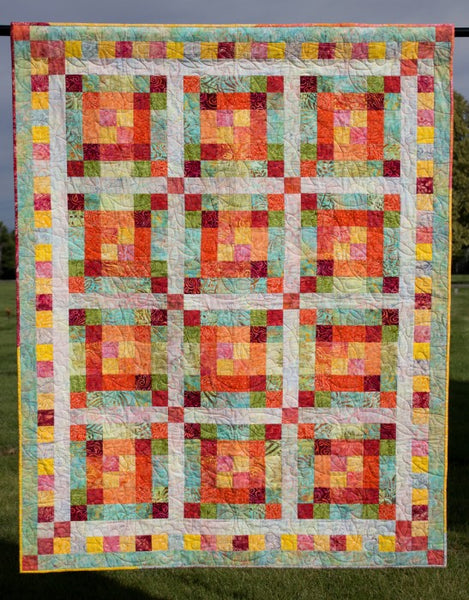 Jelly Roll Jumble- a strip quilt in bright batiks