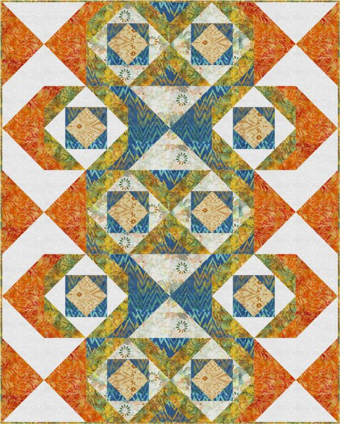 In and Out- flying geese quilt pattern in Ikat Sketch batiks