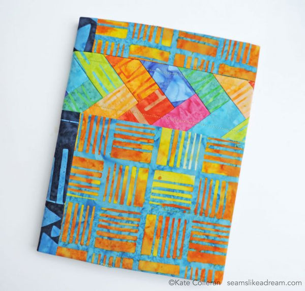 Jot It Down- a Notebook Cover  in batiks with braid accent by Kate Colleran