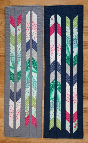 Leftovers table runners in grey and blue