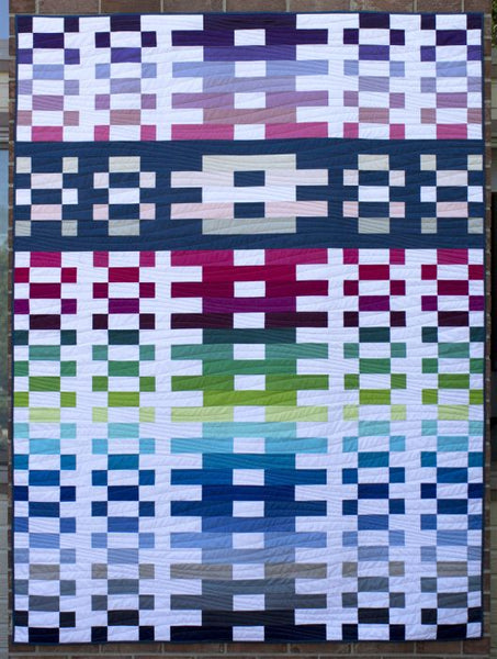 Lighthouse Steps - a strip quilt shown in solid fabrics