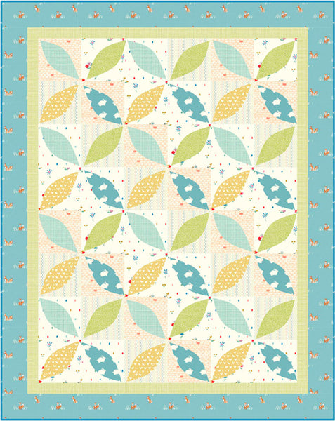 Little Leaves - a baby quilt pattern in blues and greens