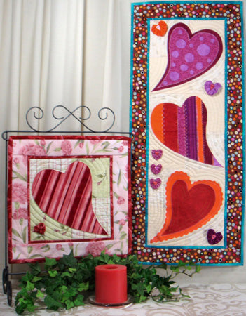 Little Bits of Love- appliqué hearts on banners in pinks and purple