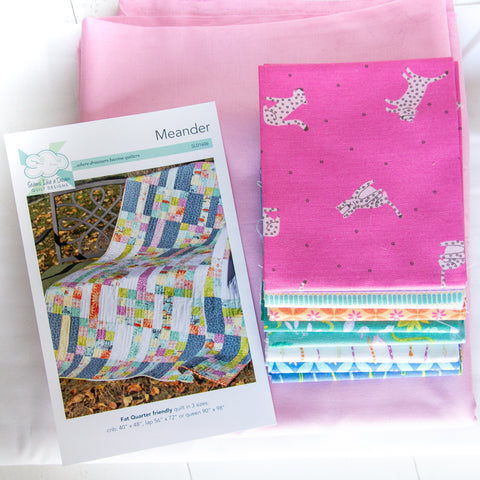 Meander Pattern and Fabric Kit - Pink