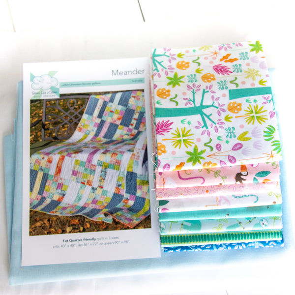 Meander Pattern and Fabric Kit - Blue