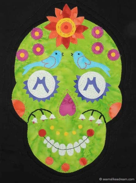 Merry Mary- a sugar skull quilt block on black