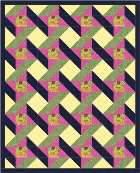 Urban Twist lap quilt in pink, yellow and navy
