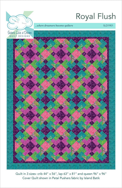 Royal Flush- a fun one block quilt where fabric placement creates a striking secondary design.