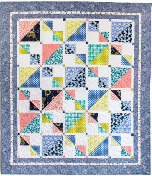 Savannah Squares- fat quarter friendly lap quilt in blues