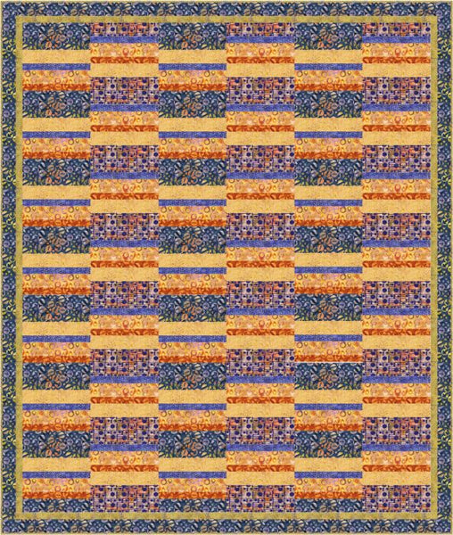 Split Strip- an easy to piece quilt in Globetrotter batiks
